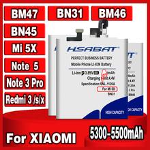 HSABAT 5300-5500mAh BM47 BM46 BN31 BN45 bateria do oryginalny Xiaomi Redmi 3 3S 3X 4X 3 pro uwaga 3 5 5A 5A Pro Mi 5X A1 Y1 Mi5X tanie tanio Powyżej 5000 mAh Kompatybilny ROHS BM46 BN31 BN45 BM47