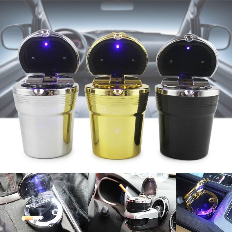 LED Light Cigarette Ashtray Travel Portable Auto Car  Smokeless Cylinder Holder Smokeless Ashtrays Kia Ashtray Passat Ashtrays