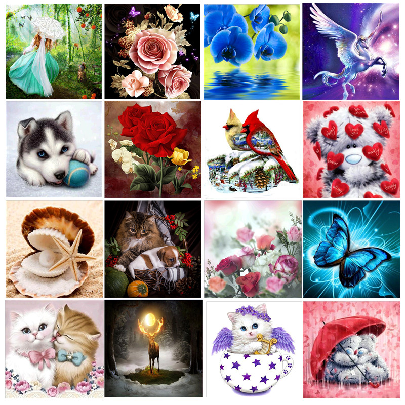 Diamond Embroidery Mosaic Flower-Pattern Animal Cross-Stitch-Set Rhinestone Home-Decoration