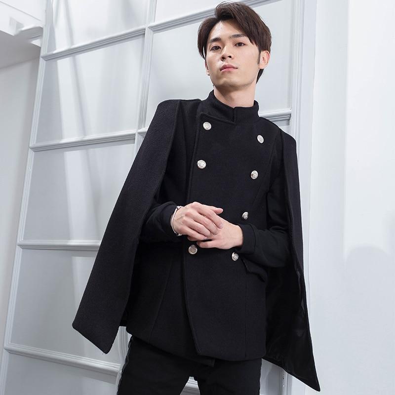 Slim fake two-piece collar cloak shawl cloak tide male personality woolen coat short winter coat Korean version