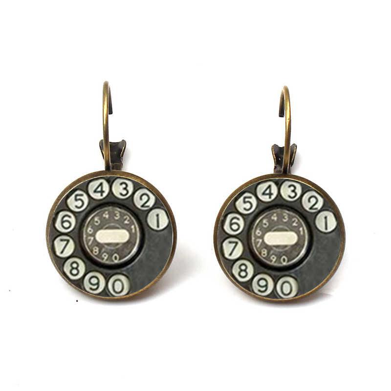 Moda bağbozumu telefon küpe Dangle el yapımı cam Retro telefon arama klasik damızlık küpe kadın mücevherat toptan