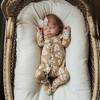 Newborn Clothes  Kid Baby Girl Long Sleeve Flower Footies Floral Jumper Casual One-pieces Jumpsuit Outfit 0-6M 1