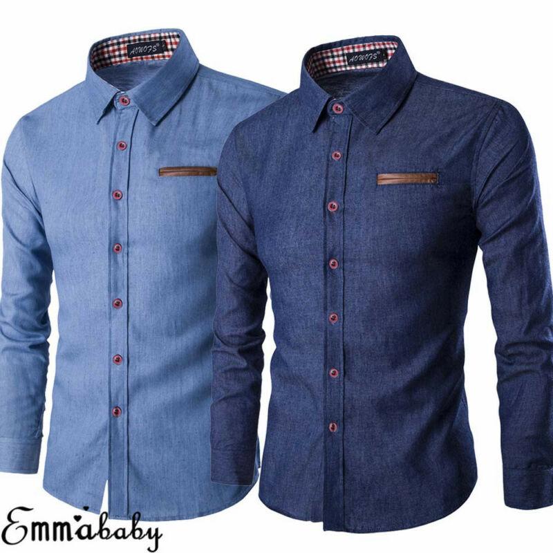 Brand 2020 New Men's Casual Slim Fit Stylish Wash Denim Long Sleeves Jeans Shirts Smart Casual Fashion Men Clothes M-XXXL