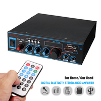 Hot with Remote Control Audio Power Stereo Digital Amplifier 220V/12V bluetooth USB FM SD Mic Home CarCompatible LED Display