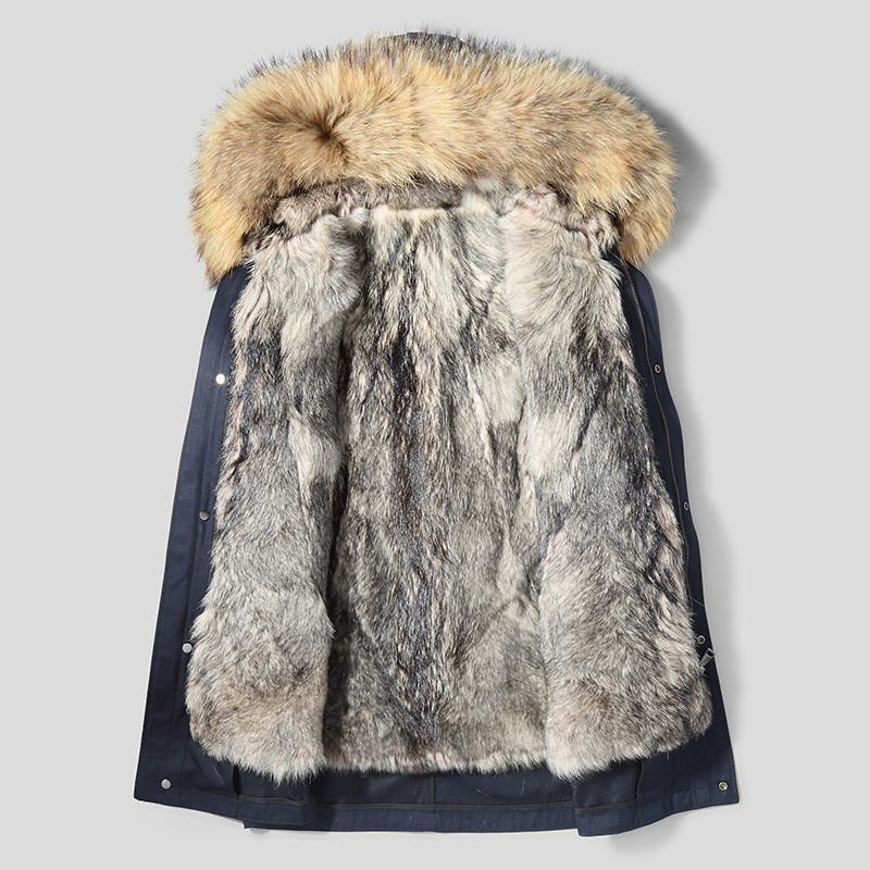 Men's Winter Coat Natural Wolf Liner Parka Men Real Raccoon Fur Collar Warm Jacket Winterjas L12-5500 MY1665