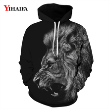 Mens Womens 3D Hoodies Black Roaring Lion Sweatshirt Vintage Animal Graphic Casual Coat Pullover Tracksuit Tops