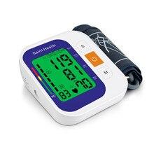Saint Health Tensiómetro brazo automático de voz rusa, Monitor de presión sanguínea, medidor de ritmo cardíaco, pulso, tonómetro portátil BP con 3 colores