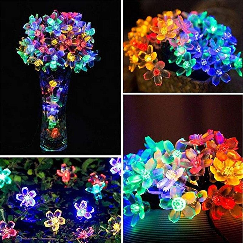 NEW 50 LEDS Peach Blossom Flower Solar Lamp 7M Power LED String Fairy Lights Solar Garlands Garden Christmas Decor For Outdoor