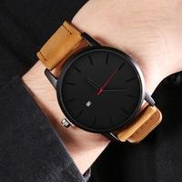 Męskie zegarki moda skórzany zegarek kwarcowy mężczyźni Casual sport mężczyzna erkek kol saati zegarek Montre Hombre Relogio Masculino
