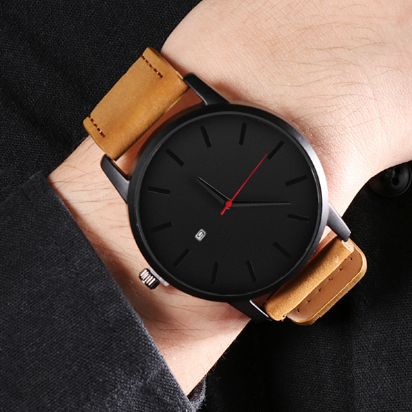 Leather Quartz Watch Men Casual Sports Fashionable Wristwatch