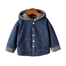 2019 Autumn New Childrens Jacket Fashion Pocket Plus Velvet For Boy Girls Denim Clothing Outerwear