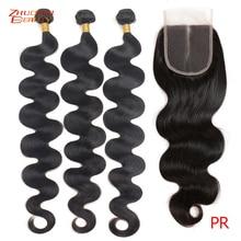 Бразильские волнистые 3 пучка с застежкой P человеческие волосы пучки с застежкой 4x4 кружевные волосы Remy добавляют коридора в парики