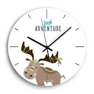 Мультяшные животные акриловые цифровые настенные часы современный дизайн бесшумный механизм декоративные DIY часы для детей гостиная домаш...