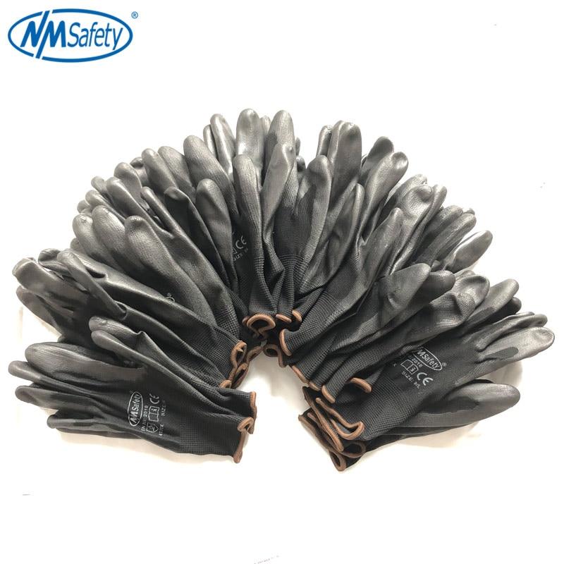 12 Pairs Safety Working Gloves Black Pu Nylon Cotton Glove Industrial Protection Work Glove NMSafety Brand Supplier