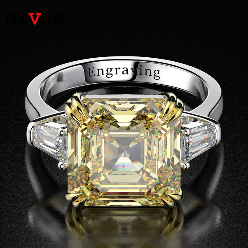 OEVAS 100% 925 Sterling Silver Created Moissanite Citrine Diamonds Gemstone Wedding Engagement Ring Fine Jewelry Gift Wholesale