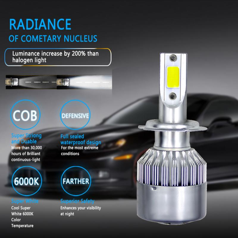 1pc COB H3/H4/H7/H11/H13/9006 72W 8000LM COB Car LED Headlight Hi/Lo Beam Bulbs Kit 6000K White Lamp Dropshipping