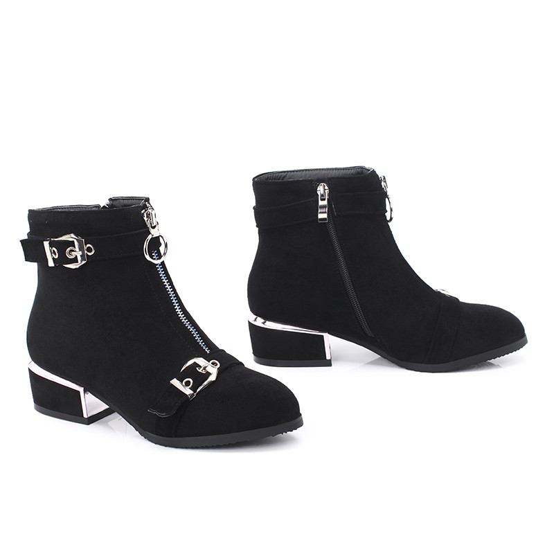 Image 4 - MORAZORA 2020 new arrival ankle boots for women buckle zip round toe autumn winter boots fashion dress office shoes female-in Ankle Boots from Shoes