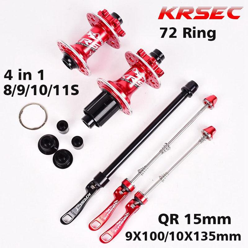 Bicycle Hubs KRSEC Front Rear Hub 32 Holes QR Thru Axis 5 Bearings 6 Pawls 72 Clicks AM FR MTB Mountain Bike Ultralight 465g image