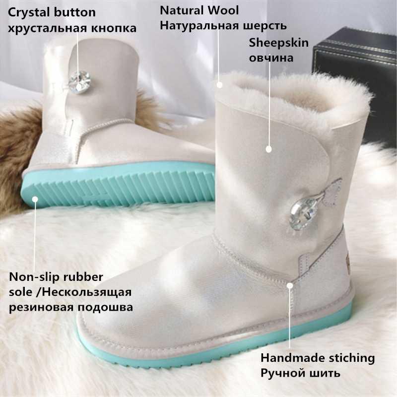 G & Zaco Lüks Hakiki Koyun Derisi Deri Kar Botları Kadın Koyun Kürk Kış Gerçek Yün Çizmeler Buzağı Botları Düğmesi Avustralya çizmeler
