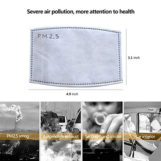 100 PCS 5 Layers PM2.5 Activated Carbon Filter Insert Protective Filter Media Insert for mouth Mask anti dust masks filter 3