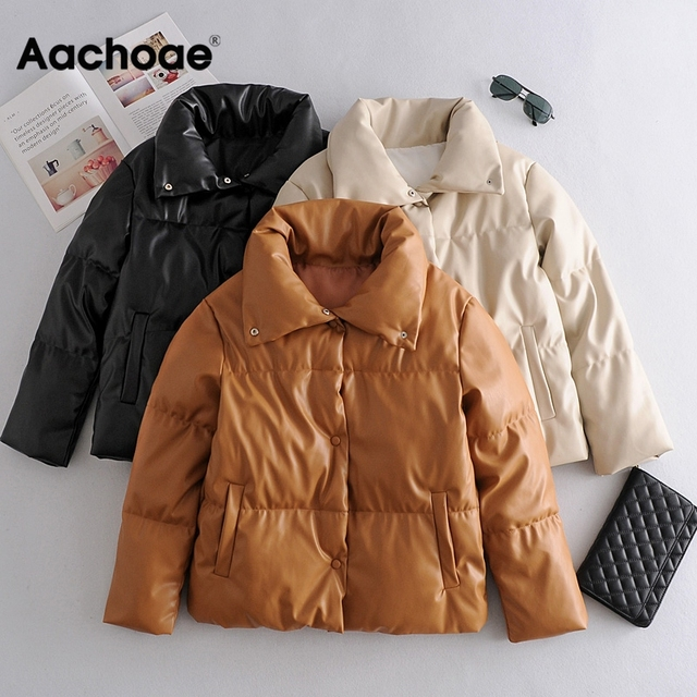Women PU Leather Parkas Fashion High Street Solid Faxu Leather Coats Elegant Winter Thick Cotton Jackets Loose Outerwear 2