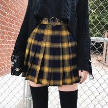 秋冬原宿女性ファッションスカートかわいい黄黒赤プリーツスカートパンクスタイルハイウエスト女性ミニショートスカート