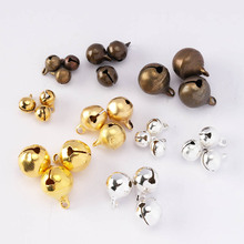 MINGXUAN 100pcs 6/8/10/12mm Copper Pendant Charm Antique Bronze Raw Brass Color Tinkle Bell Christmas Decoration DIY Jewelry цена