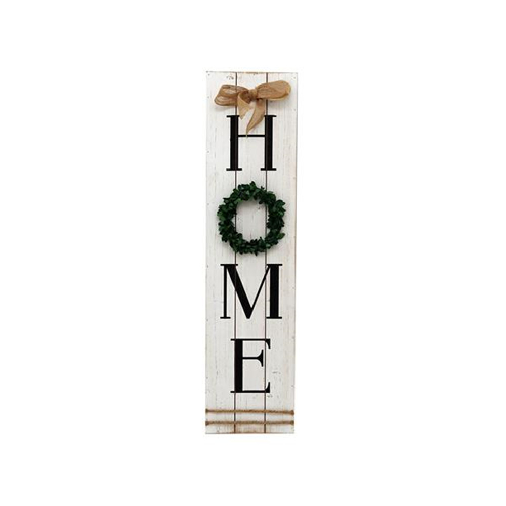 Wall Art Wooden Home Plaque with Green Wreath Housewarming Home Decor Large Farmhouse Signs Plaque Wall Hanging Decor for Mantle image