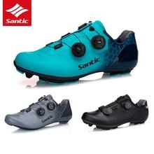 SANTIC zapatos de Ciclismo de fibra de carbono para hombre, calzado ultraligero y transpirable, con bloqueo automático, 5 estilos
