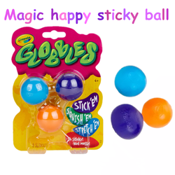 3ct globbles magia bola pegajosa feliz 1/2/4 pçs globbles bola de ventilação, viscosidade forte e pode lavável, decorações de natal de festa em casa