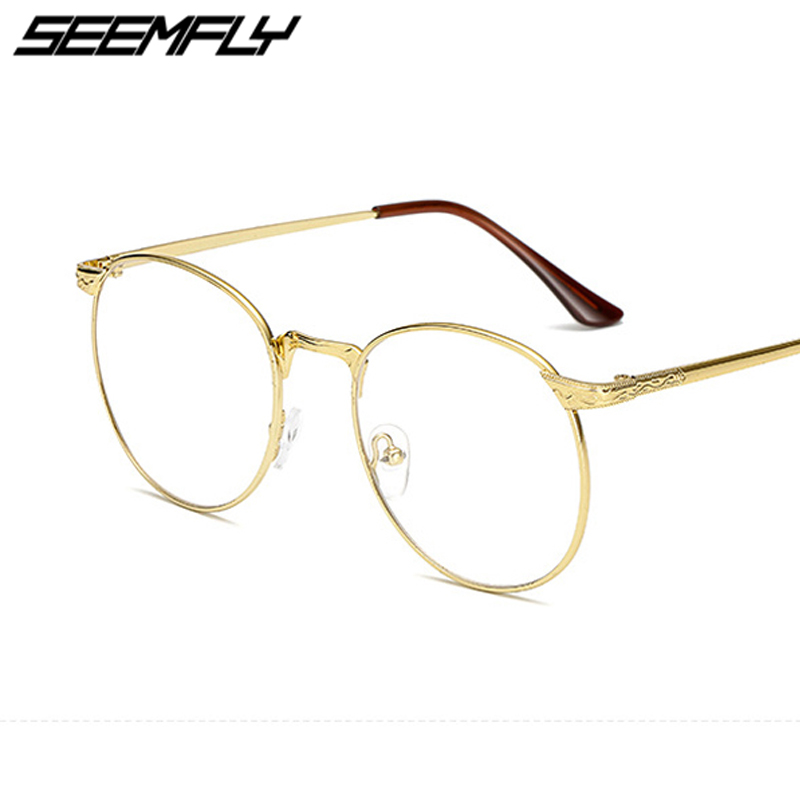 Seemfly Retro Round Metal Eyeglasses Frame Spectacles Women Men Classic Clear Lens Prescription Black Silver Gold Eye Glasses