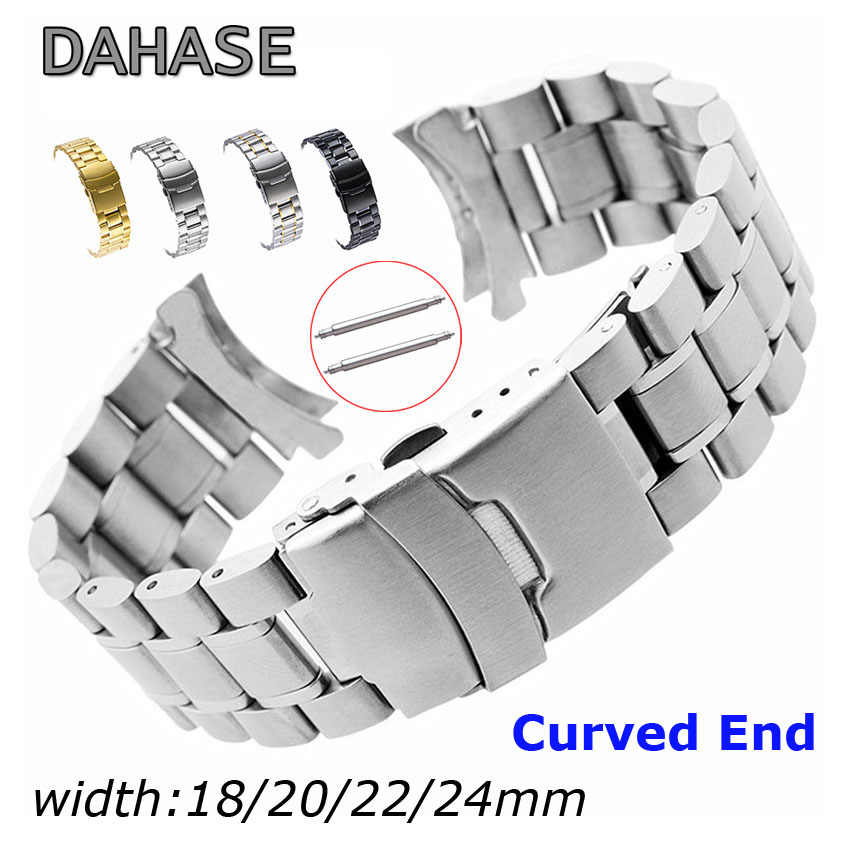 Stainless Steel Watch Band 18 Mm 20 Mm 22 Mm 24 Mm Tali Gelang Ujung Melengkung Watch Tali Double Lock gesper Pengganti Sabuk Pergelangan Tangan