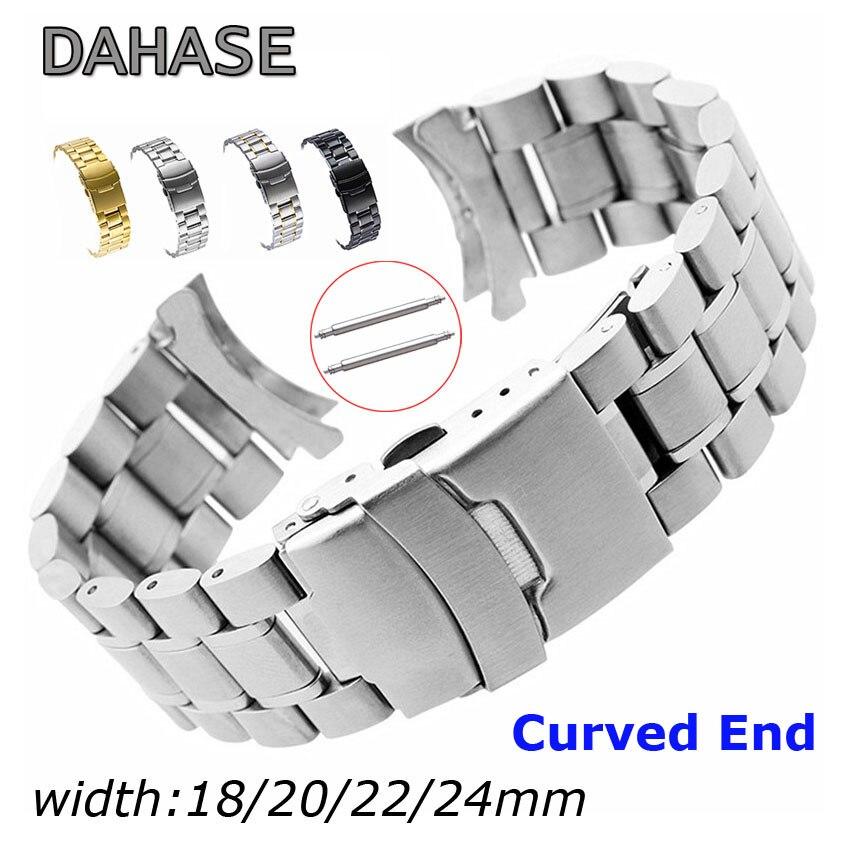 Bracelet de montre en acier inoxydable 18mm 20mm 22mm 24mm bracelet de montre à extrémité incurvée Double boucle de verrouillage remplacement ceinture de poignet