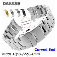 Stainless Steel Watch Band 18mm 20mm 22mm 24mm Strap Wristband Curved End Watch Strap Double Lock Buckle Replacement Wrist Belt