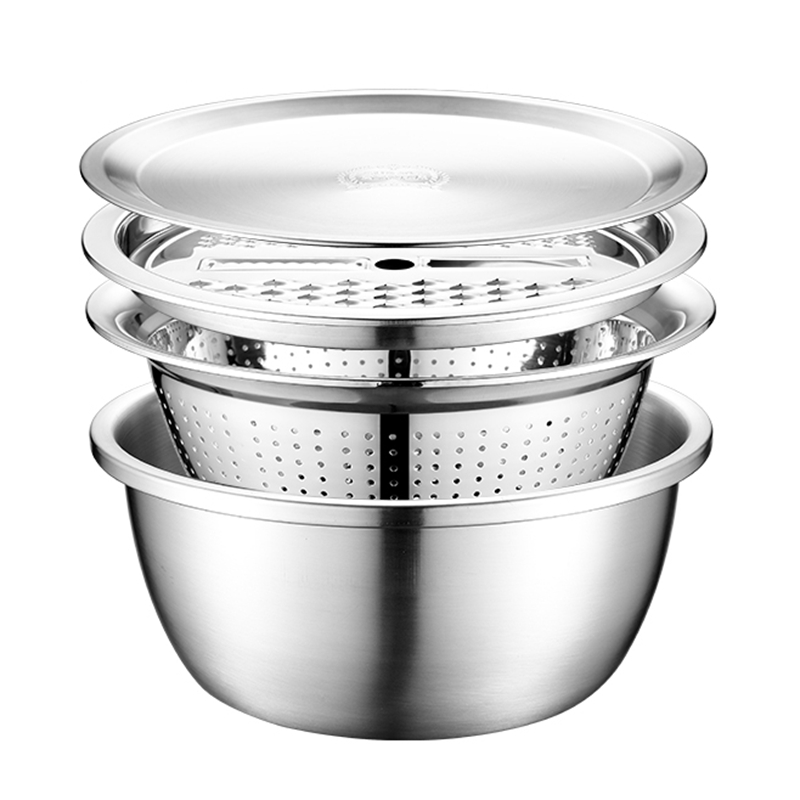 4PCS Set 304 Stainless Steel Bowl with Lid Kitchen Cooking Salad Mixing Bowls Set Washing Drain Basket Soup Basin Strainer