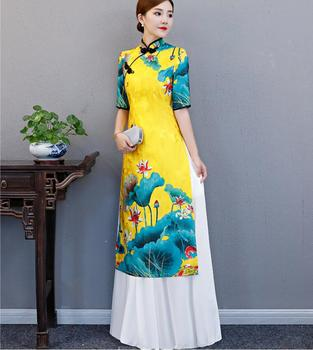 Cheongsam Traditional China Style Party Qipao Robe Oriental Womens Elegant Evening Dress Chinese Tradition Dresses