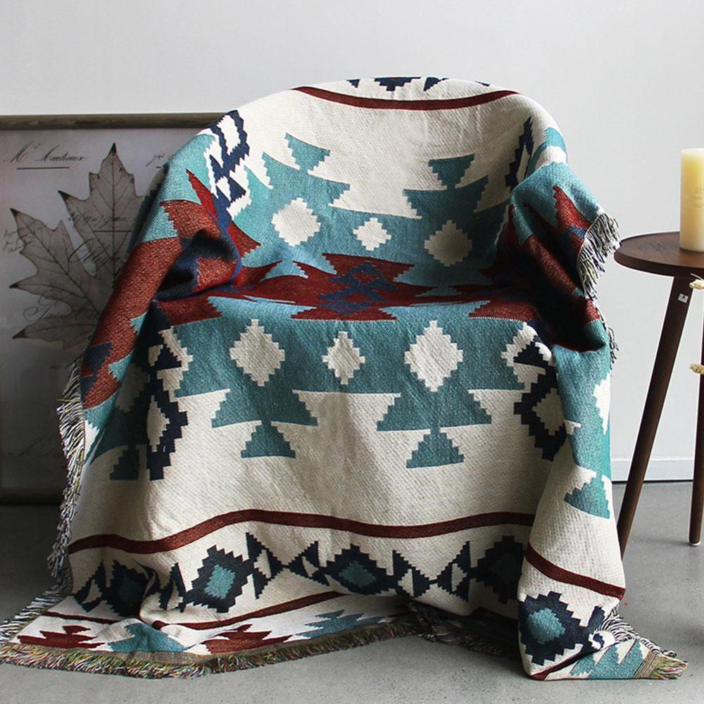 Multi-Function Decor Aztec Navajo Towel Mat Cotton Sofa Bed Chair Blanket Throw Rug Textile Geometry Throw Blanket Sofa Decor