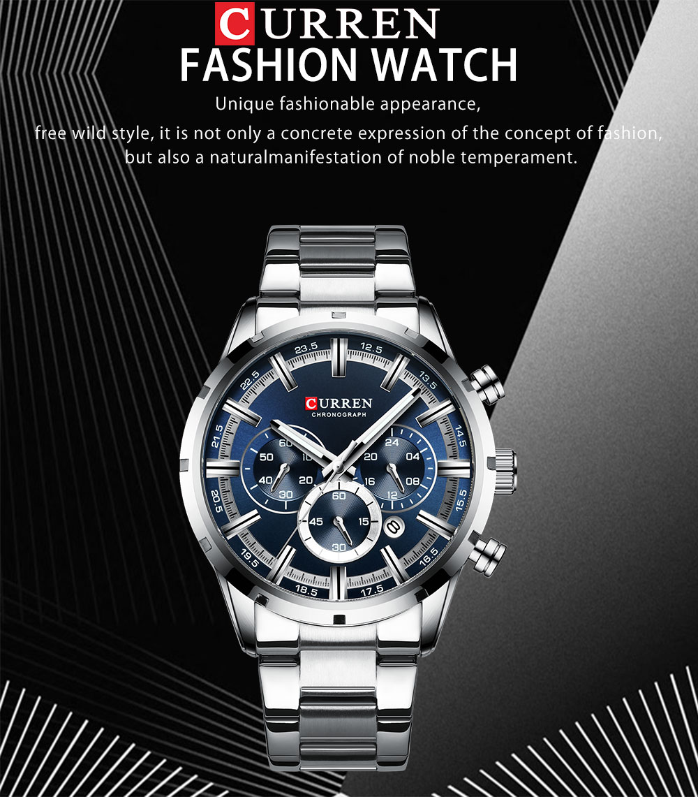 Hc526b43cafb84487a8eb14c28b3b4be7V CURREN Top Brand Military Quartz Watches Silver Clock Mens Quartz Stainless Steel Chronograph Watch for Men Casual Sporty Watch