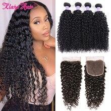 Klaiyi mechones de pelo rizado de Malasia con cierre, 4 Uds., cierre de encaje suizo con 3 mechones, cabello humano Remy negro oscuro