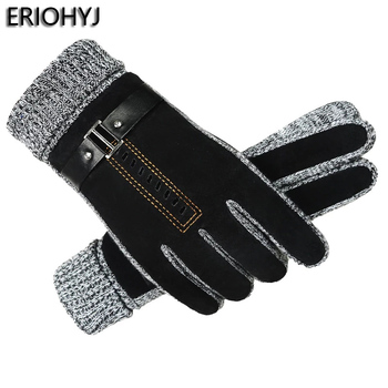 Pigskin gloves mens winter riding touch screen warm and windproof plus velvet thick cotton outdoor cycling motorcycle