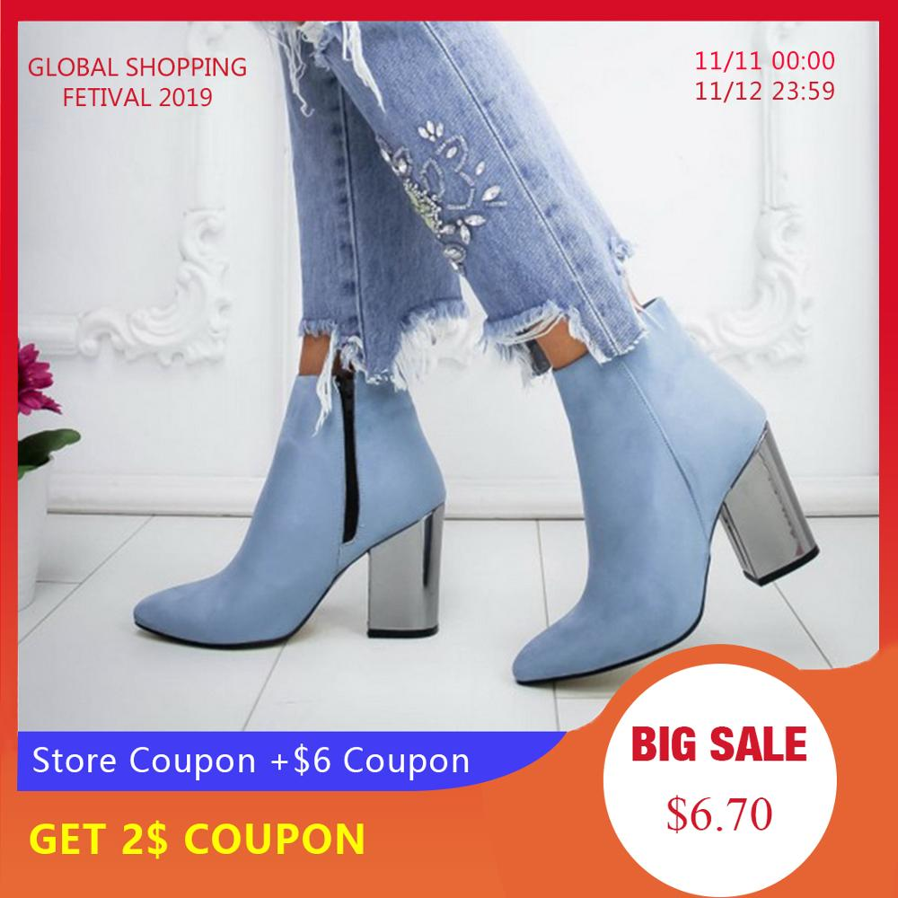 LASPERAL Women Shoes Ankle Pumps Flock Toe Boots Solid Autumn Spring 2019 New High-heeled Shoes Botas Mujer Dropship