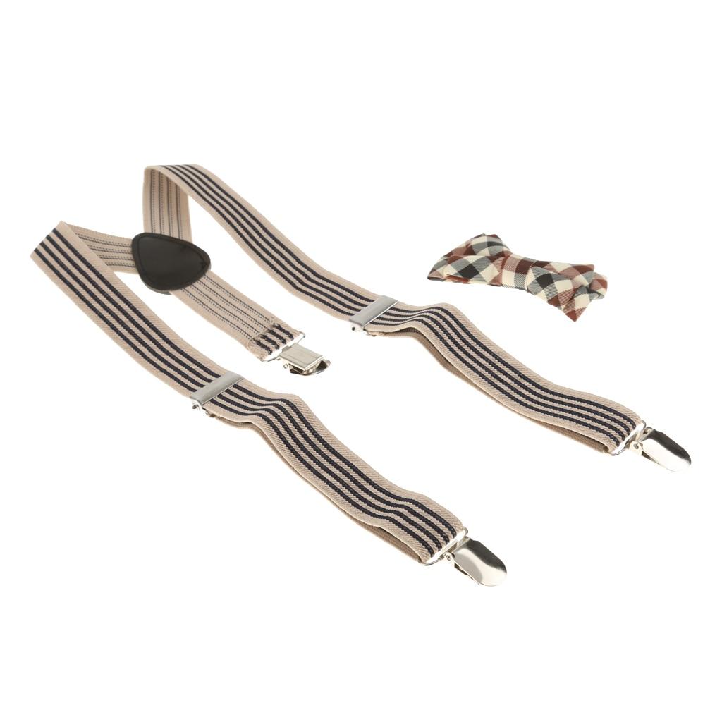 2Colors Mixed Toddler Kids Boys Plaid Bowtie + Y-back Suspender Set Clip-on Braces