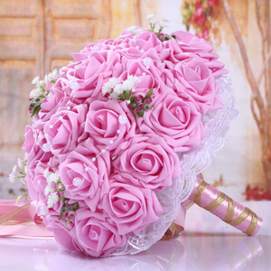 Image 5 - Fashion Cheap Burgundy Wedding Bouquet Pink/Red/White/Burgundy Bridal Bridesmaid Flower Artificial Flower Rose Bouquet Bride