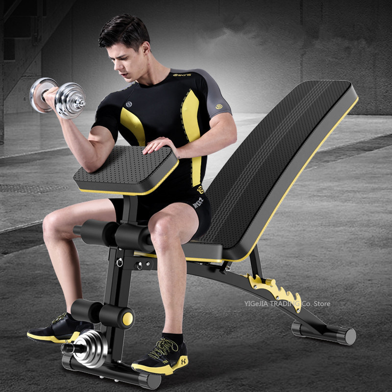 Household Fitness Chair Dumbbell Bench Multifunctional Sit-up Board, Home Gym Adjustable Bench Fitness Workout Station