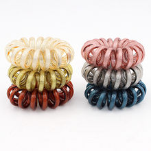 Bande élastique brillante pour les cheveux, 3 pièces, cordon en spirale extensible pour maintenir les cheveux lourds en Place