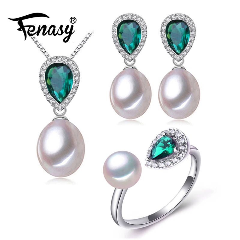 FENASY Pearl Jewelry Sets Pearl Pendant Necklace Bohemian 925 Sterling Silver Emerald Green Crystal Drop Earrings For Women Ring