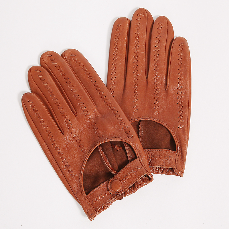 Retro Locomotive Lambskin Gloves Male Real Leather Gloves Thin Breathable Short Spring Autumn Men Driving Gloves M063N