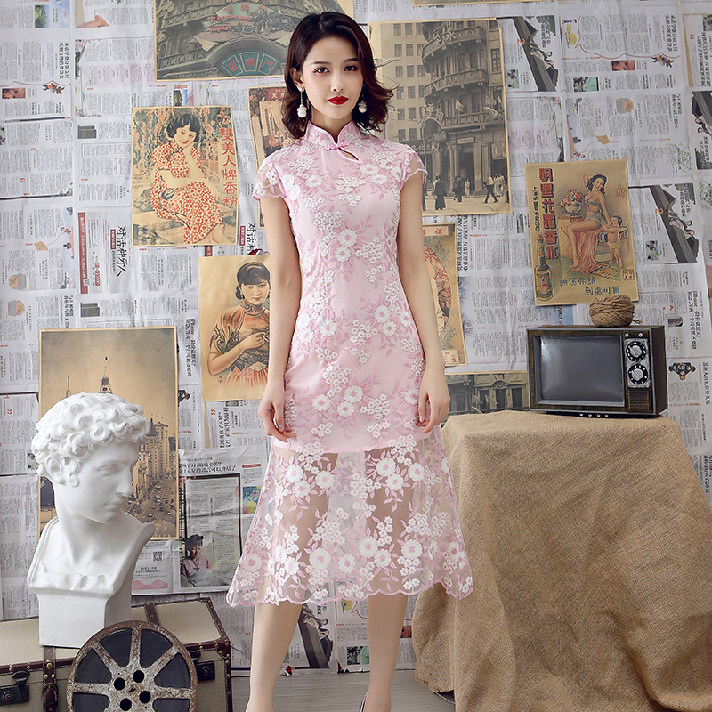 2019 Spring And Summer New Style Improved Cheongsam Lace One Piece Long Skirts Slim Fit Retro Elegant Fashion Mom WOMEN'S Dress