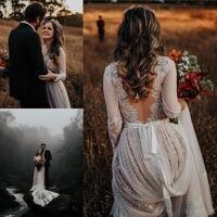 Богемные Свадебные платья 2020, кружевные свадебные платья в стиле кантри с длинными рукавами и v-образным вырезом, платья на заказ