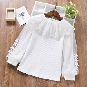 Children Blouse Tops Lace-Puff Long-Sleeve Toddler Girl White Baby Teen Kids Princess